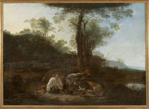 Zuidelijk landschap met rustende herder en enkele dieren