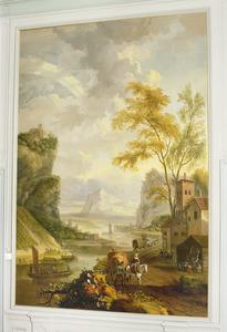 Berglandschap met bedrijvigheid van figuren vergezeld van paard en wagens