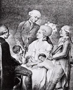 Portret van Garlieb Helwich Sillem (1728-1801) en Louise Maria Mathiessen (1749-1826) en hun kinderen en een zelfportret van Daniel Nikolaus Chodowiecki (1726-1801)