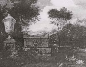 Landschap met figuren bij een sarcofaag, links een tuinvaas op een piëdestal