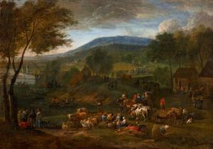 Heuvellandschap met boeren en vee