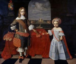 Dubbelportret van Evert Lewe tot Middelstum (1651- ) en Reint Lewe (  -1704)