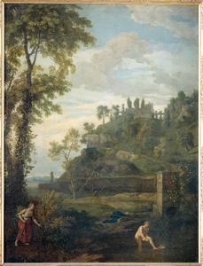 Arcadisch landschap met Salmacis en Hermaphroditus