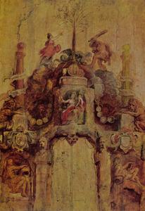 Voorzijde van de erepoort van de Munt (Pompa Introitus Ferdinandi)