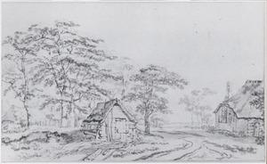 Bosachtig landschap met  boerderij