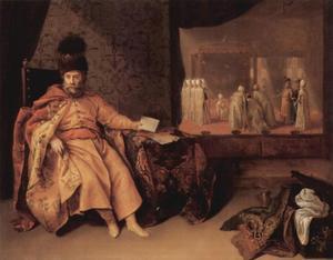 Portret van Johann Rudolph Schmid, baron von Schwarzemhorn, ambassadeur van Wenen bij de sultan in Constantinopel in 1651