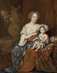 Portret van een vrouw en een kind, fontein op de achtergrond