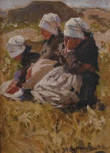 Uitrustende Bretonse vrouwen