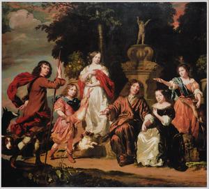 Portret van een familie in een parklandschap bij een geornamenteerde fontein