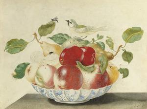 Porseleinen kom met vruchten en een vogel, op een stenen tafel