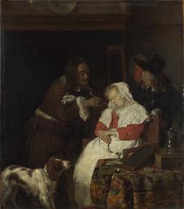Twee mannen bij een slapende vrouw