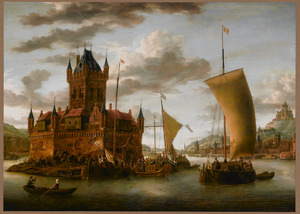 Rivierlandschap met schepen bij een versterkte haveningang