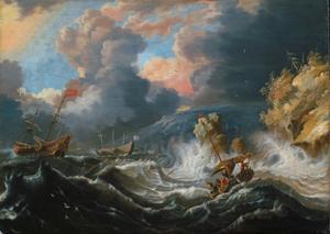 Schepen in de storm voor een rotsachtige kust