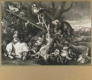 Drie honden en een valk bij een buit van haas en gevogelte