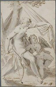 Venus beschermt Cupido tegen de zon