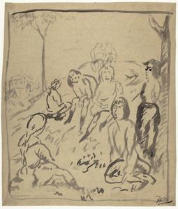 Groep vrouwen op een heuveltje