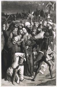 De gevangenneming. In de achtergrond Christus voor Kajafas (op de oorspronkelijke buitenzijde: de H. Johannes de Evangelist in grisaille)