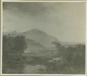 Zuidelijk berglandschap met herderin met haar dieren bij een doorwaadbare plaats