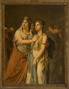 De actrices Johanna Cornelia Ziesenis-Wattier en Geertruida Jacoba Grevelink-Hilverdink in het toneelstuk 'Iphigenia' van Jean Racine