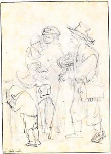 Een blinde bedelaar en zijn familie (recto)