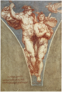 Mercurius voert Psyche naar de Olympus (Lucius Apuleius' De Gouden Ezel)