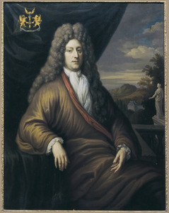 Portret van een man uit de familie Asch van Wijck, zittend voor een landschap