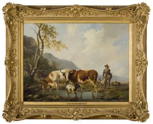 Vee in een landschap met herder