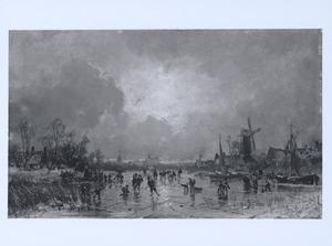 Schaatsen op een bevroren rivier