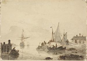 Kustgezicht met vissers