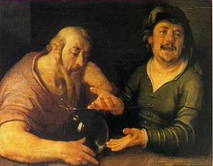 De lachende en de wenende filosofen Heraclitus en Democritus