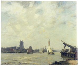 Schepen op de rivier de Merwede bij Dordrecht