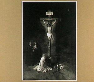 Christus aan het kruis met Maria Magdalena en twee donors als wenende Maria en Johannes de Evangelist met een nautilusbeker in de hand