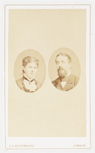 Portret van Marie Jeanne Anna Schuurbeque Boeye (1854-1934) en Hendrik Jonas van der Poel Hiddingh (1850-1926)