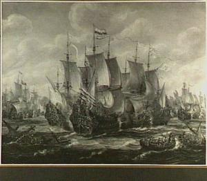 De slag bij Ter Heijde tussen Hollandse en Engelse schepen, augustus 1653