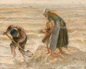 Spelende kinderen aan het strand