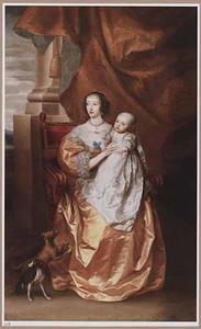 Portret van koningin Henrietta Maria  van Engeland met haar oudste dochter Mary the Princess Royal