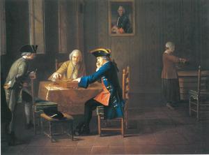Interieur met elegante heer zittend aan een tafel het triktrakspel spelend