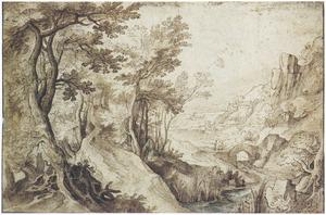 Boomrijk berglandschap met rivier in een vallei