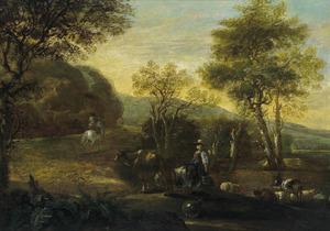 Zuidelijk landschap met een melkmeid bij de kudde en een ruiter