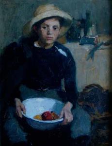 Portret van een jongen met een fruitschaal