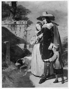 Gezelschap in zeventiende-eeuws kostuum met hond bij een graf