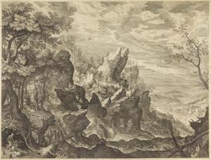 Berglandschap met de heilige Hieronymus
