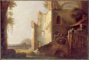 Twee figuren in gesprek op de trap van een vervallen huis in een zuidelijk landschap