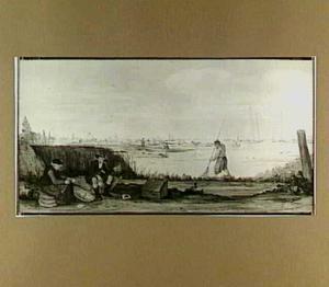Landschap met visverkoopster en visser op de oever; in de verte de rivier met schepen