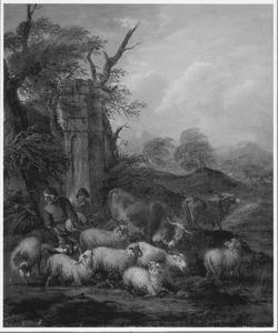 Zuidelijk landschap met voor zwaar weer schuilende herders en hun kudde