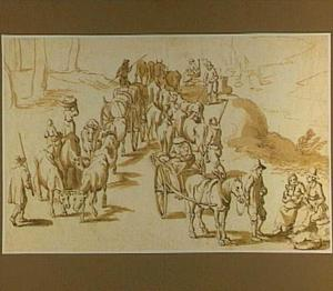Veedrijvers met koeien en karren