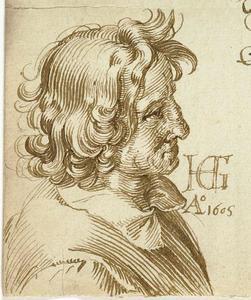 Studie van een man in de marge van een brief aan de goudsmit Hans van Weely
