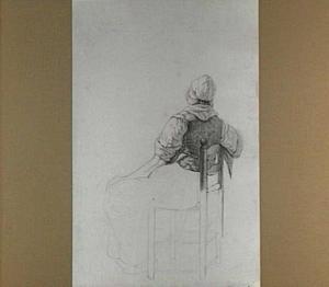 Studie van een zittende vrouw, op de rug gezien