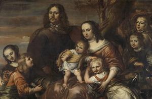 Portret van een echtpaar met zes kinderen