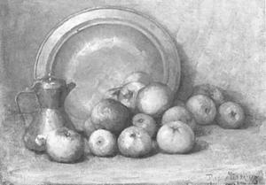 Apples, coffee pot and large copper pan